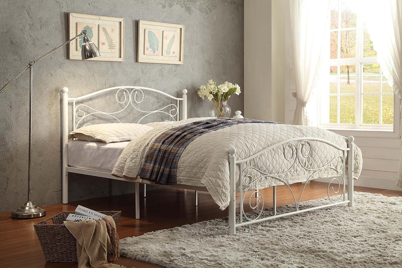 Amazon.com: Homelegance 2021FW-1-3A Metal Platform Bed, Full, White: Kitchen & Dining