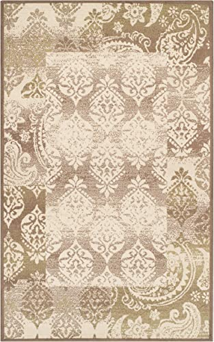 Superior Modern Mystique Collection Area Rug, 8mm Pile Height with Jute Backing, Elegant Multi-colored Damask Pattern, Anti-Static, Water-Repellent Rugs – Brown, 8 x 10 Rug