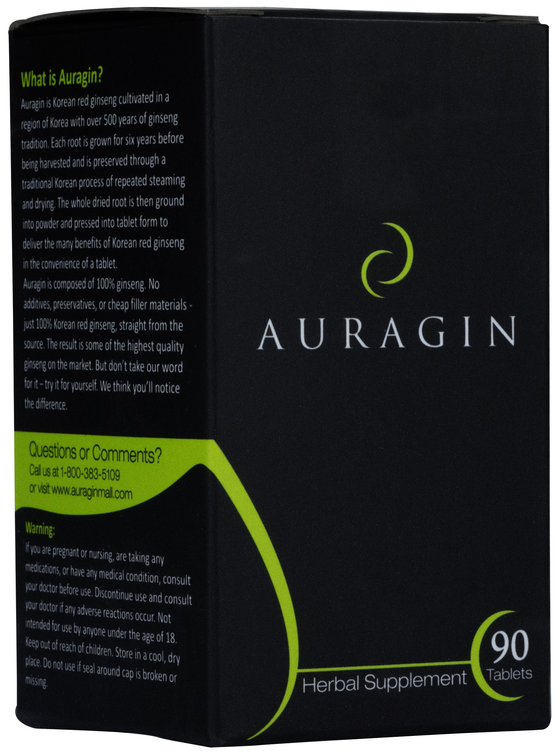 Auragin Authentic Korean Red Ginseng – Made in Korea – 6 Year Roots – No Additives or Other Ingredients – 100% Red Panax Ginseng in Every Tablet