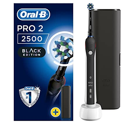 Oral-B PRO 2 2500 CrossAction Cepillo eléctrico recargable, 1 negro mango, 2