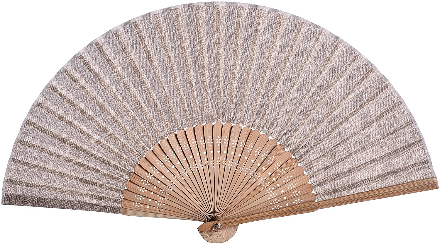 Salutto Hand Fan with Beautiful Fabric Printed (Coffee)