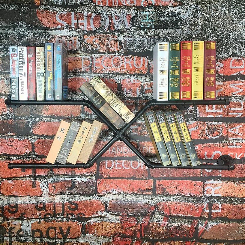 ウォールデコレーションLOFTは、古い棚を鍛造アイロン本棚ウォールハンガーウォールシェルフ (色 : ブラック) B07S2LGJFM ブラック