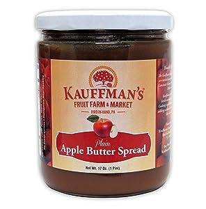 Kauffman's Homemade Plain Apple Butter, No Sugar Added, 17 Oz. Jar (Pack of 2 Jars)