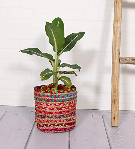 HANDICRAFT-PALACE Floral Pots Bag Natural Jute Cotton Plant Bag Pot Bags for All Plants Home Room Hall Decor Indoor Outdoor Plant Sack (Multi)
