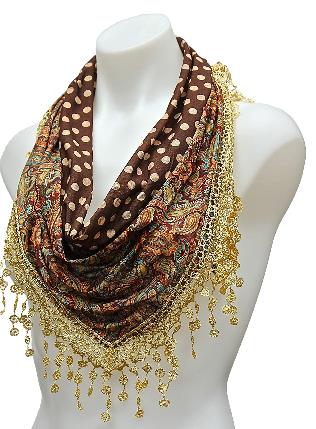 Terra Nomad Women's/Girls Double Sided Paisley Polka Dots Triangle Scarf w/ Lace Trim