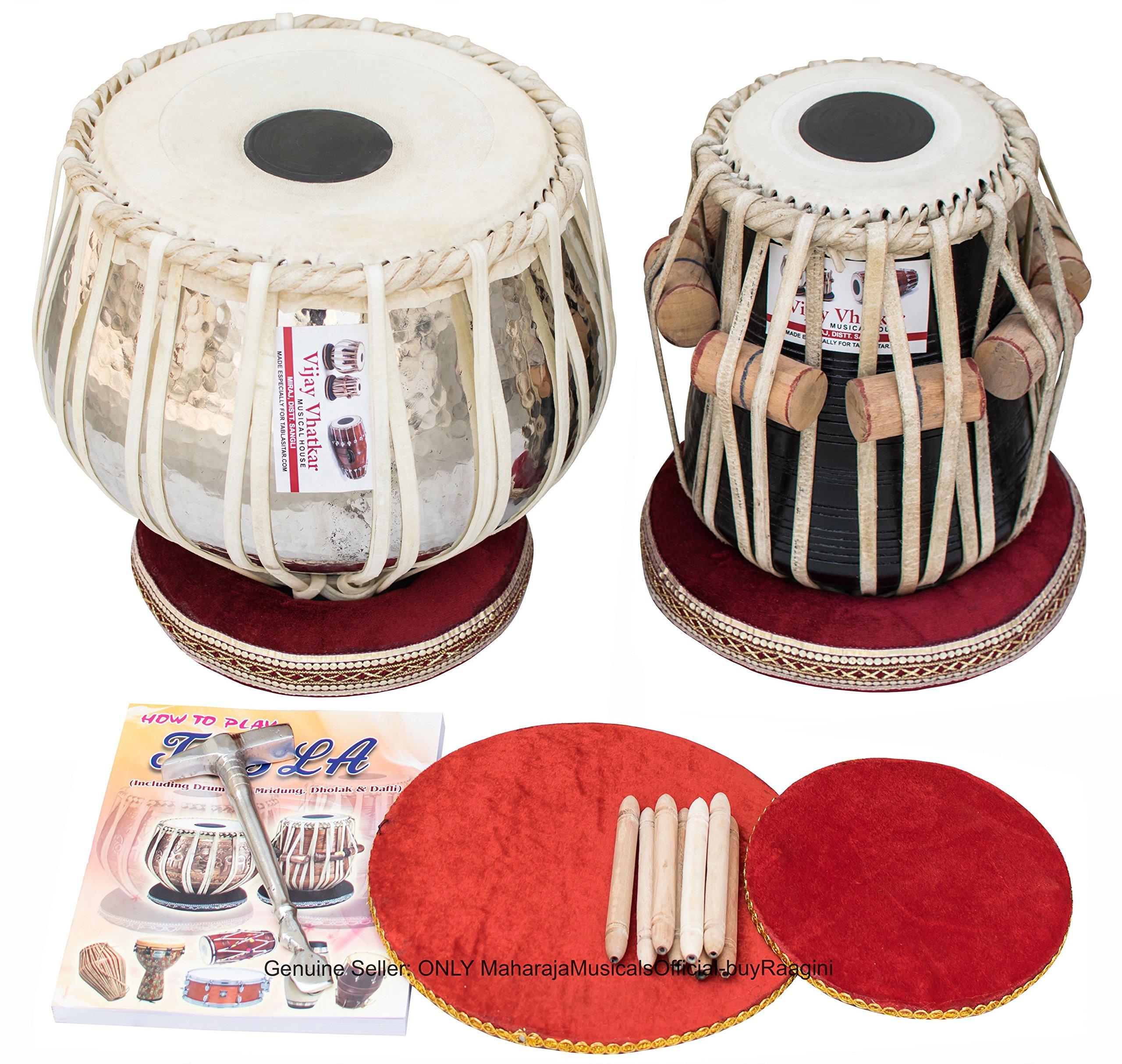 Vijay Vhatkar Tabla, Special Concert, 4KG Chromed Copper Bayan, Finest Sheesham Dayan, Tabla Drums, Book, Hammer, Cushions, Cover, Tabla Instrument Indian (PDI-BBD)