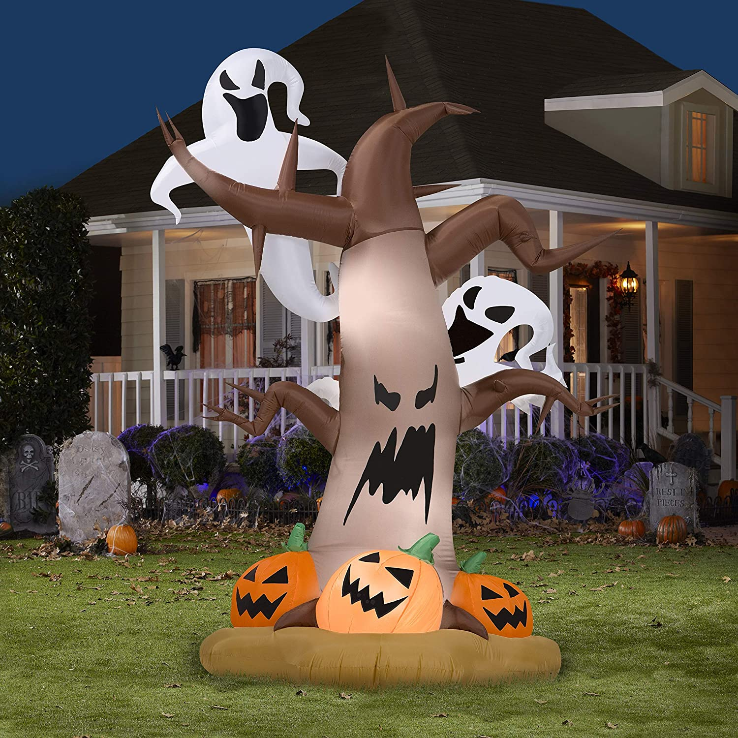 Halloween Decorations 8 Tall Airblown Halloween Inflatable Dead Tree with Ghost on Top pumpkins on Bottom