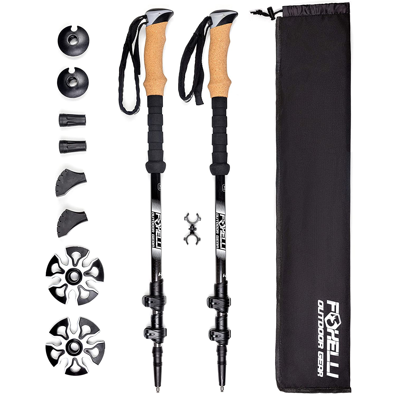 Foxelli Carbon Fiber Trekking Poles Collapsible, Lightweight, Shock-Absorbent, Hiking, Walking Running Sticks with Natural Cork Grips, Quick Locks, 4 Season All Terrain Accessories and Carry Bag