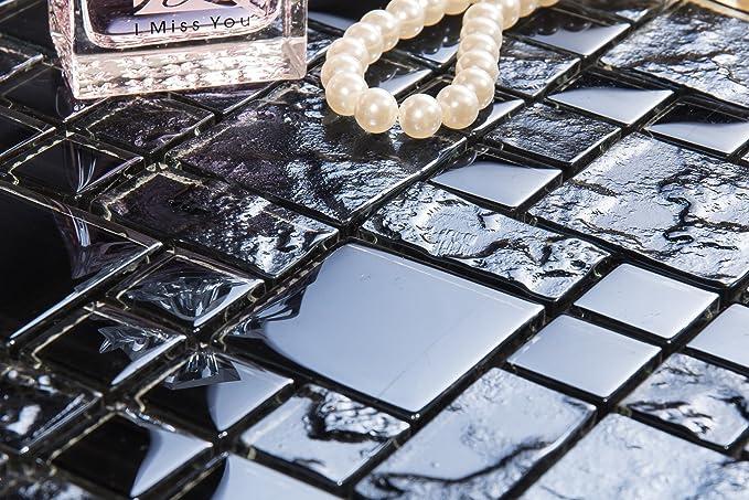 30x30cm Glatt und Texturiert Glas Mosiak Fliesen Matte in Schwarz MT0144
