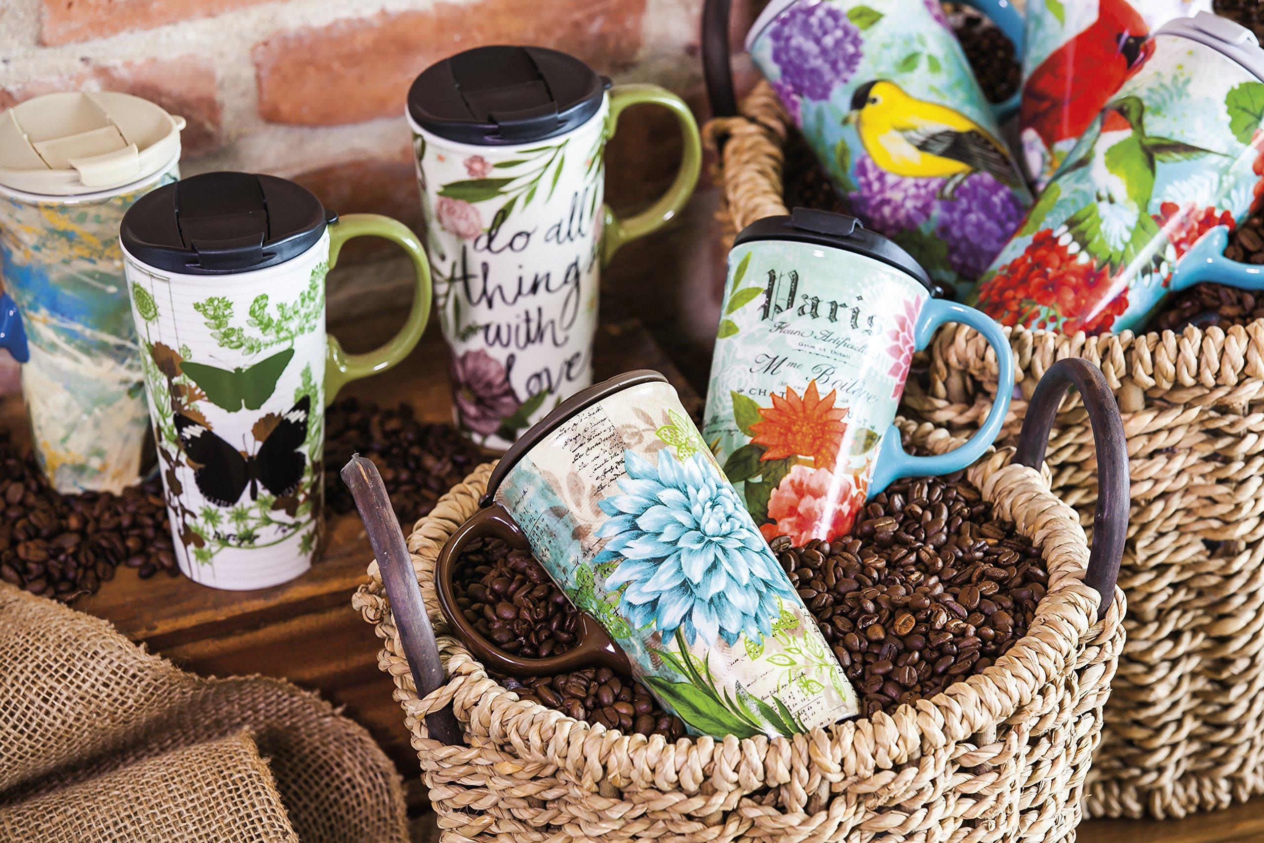 Cypress Home Cardinal Trio Ceramic Travel Coffee Mug, 17 ounces by Cypress Home (Image #3)