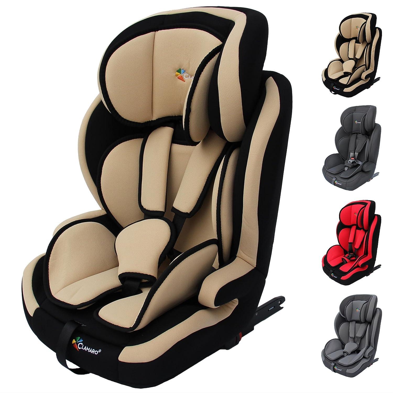 Clamaro 'Guardian Isofix 2018' Kinderautositz 9-36 kg mit ISOFIX, Kopfstütze verstellbar mitwachsend, Auto Kindersitz für Kinder von 1-12 Jahre, Gruppe 1/2/3, ECE R44/04, Farbe: Beige Schwarz