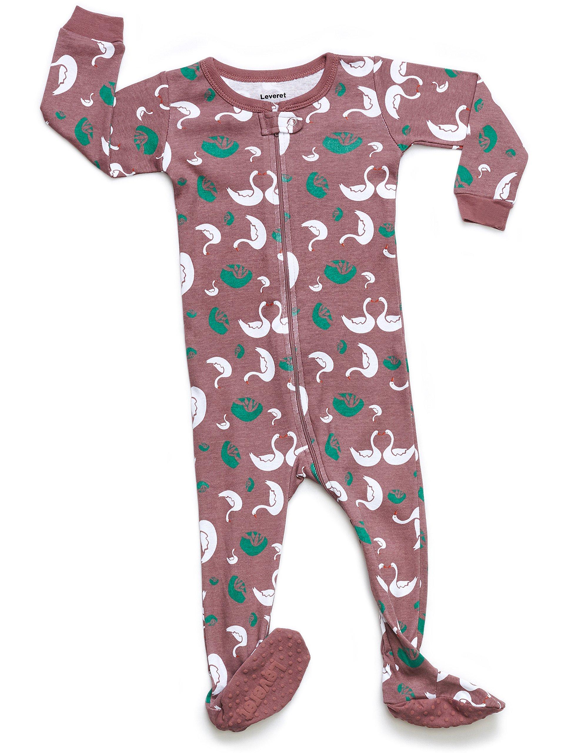 Leveret Organic Cotton Swan Footed Pajama Sleeper 4