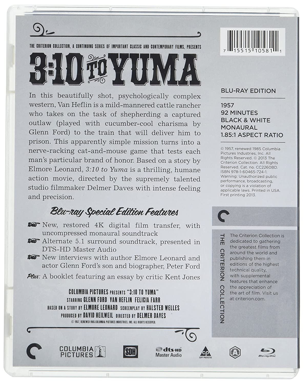 com to yuma criterion collection blu ray glenn com 3 10 to yuma criterion collection blu ray glenn ford van heflin felicia farr leora dana henry jones delmer daves movies tv