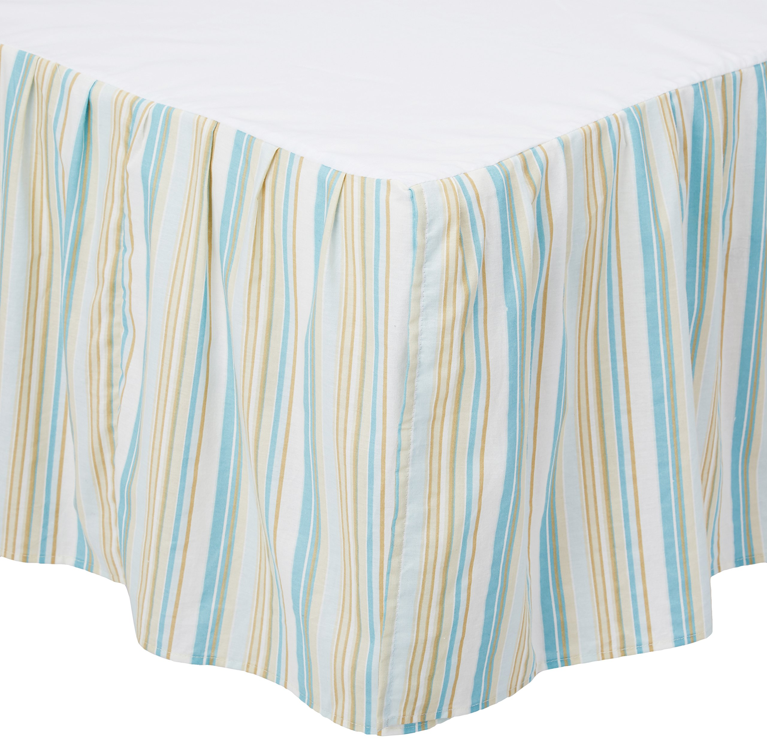 C&F Home 89452.6080 Natural Shells Bed Skirt, Queen, Blue