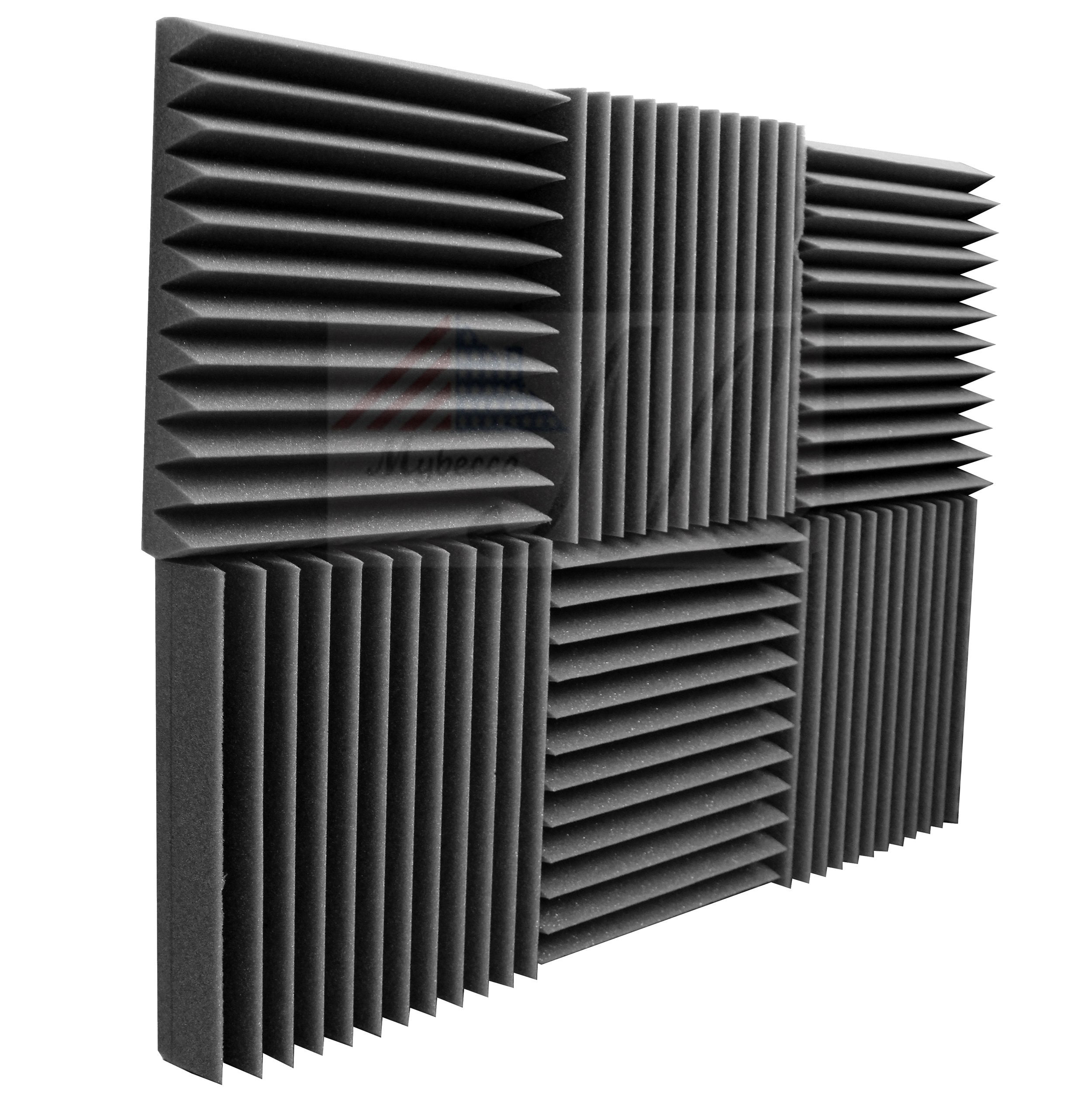 Mybecca 6 Pack Acoustic Foam Wedge 2'' X 12'' X 12'' Studio Soundproofing Panels (6 Square Feet), Charcoal