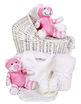 1c5f906dc5ea Cradle Shaped Gift Basket with White Pink Toy | Baby Girl Hamper ...