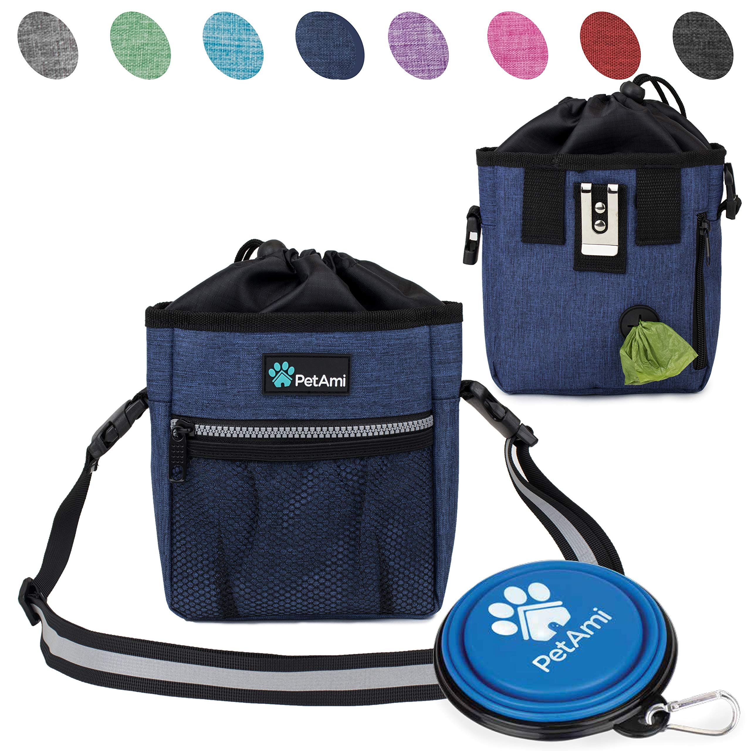 PetAmi Deluxe Dog Training Pouch with Shoulder/Waist Strap and Built-in Poop Bag Dispenser   Dog Treat Training Bag for Treats, Kibbles, Pet Toys   Collapsible Food/Water Bowl Included (Heather Navy)