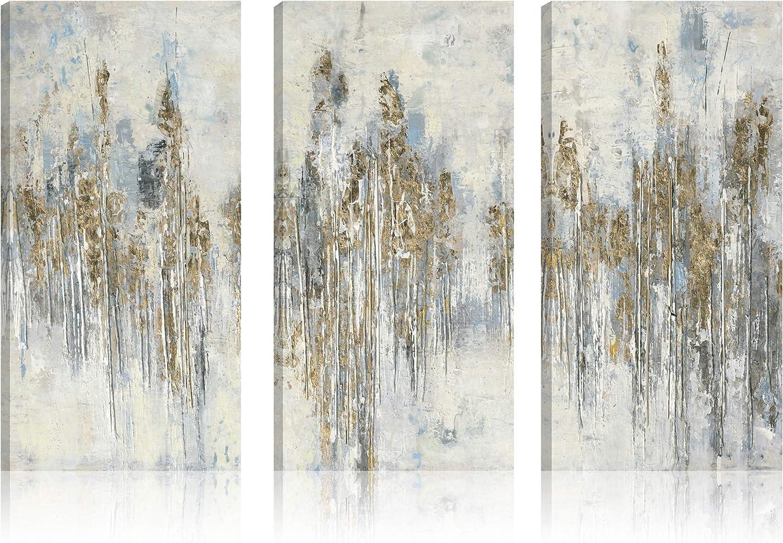 Amazon Com Art Maison Abstract Birch View Ii Canvas Wall Art 12x24 S3 Mustard White Blue Posters Prints
