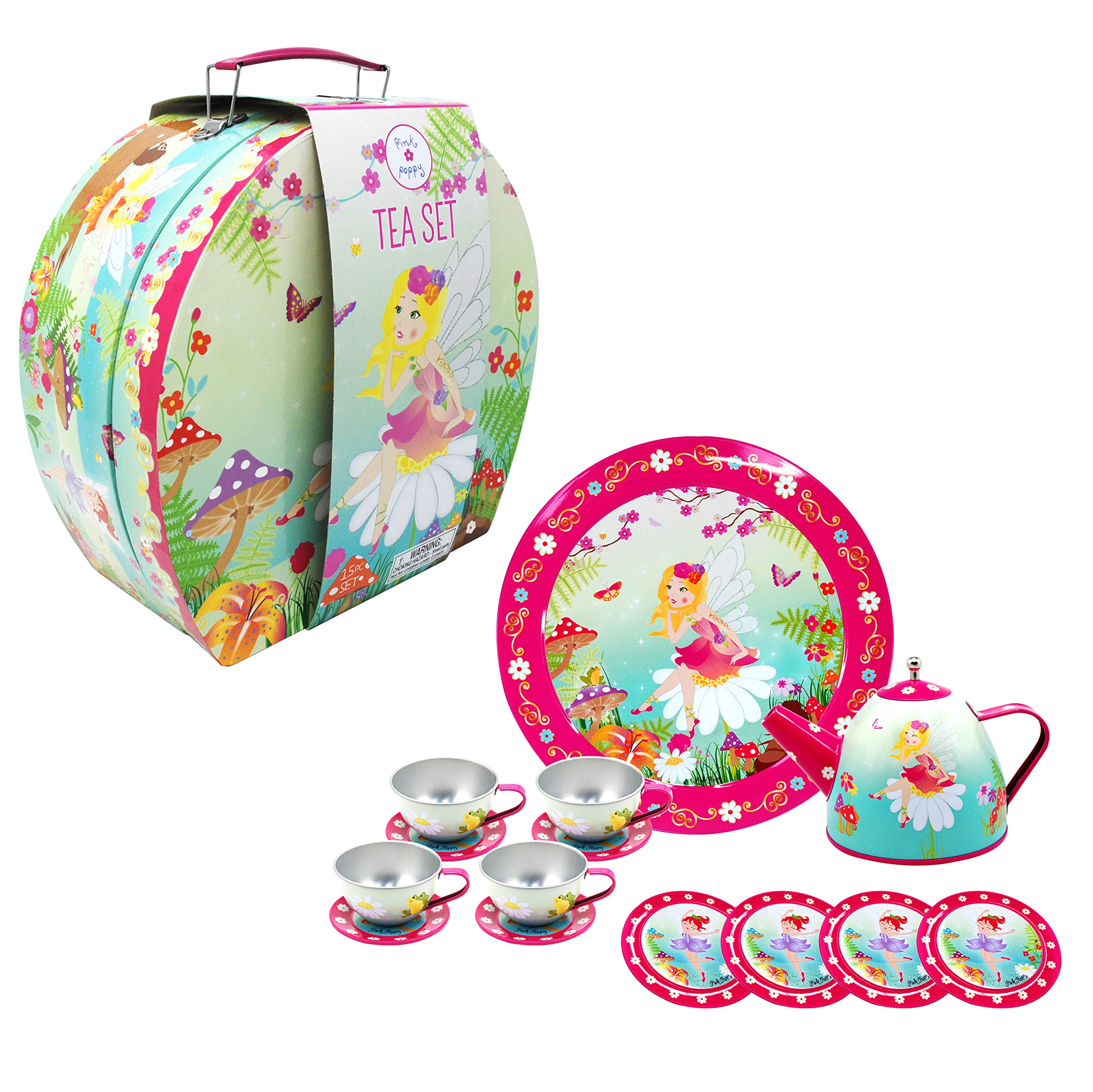 Pink Poppy Forest Fairy Floral Green 10 x 9 Tin Metal Toy 14 Piece Tea Set in Carry Case