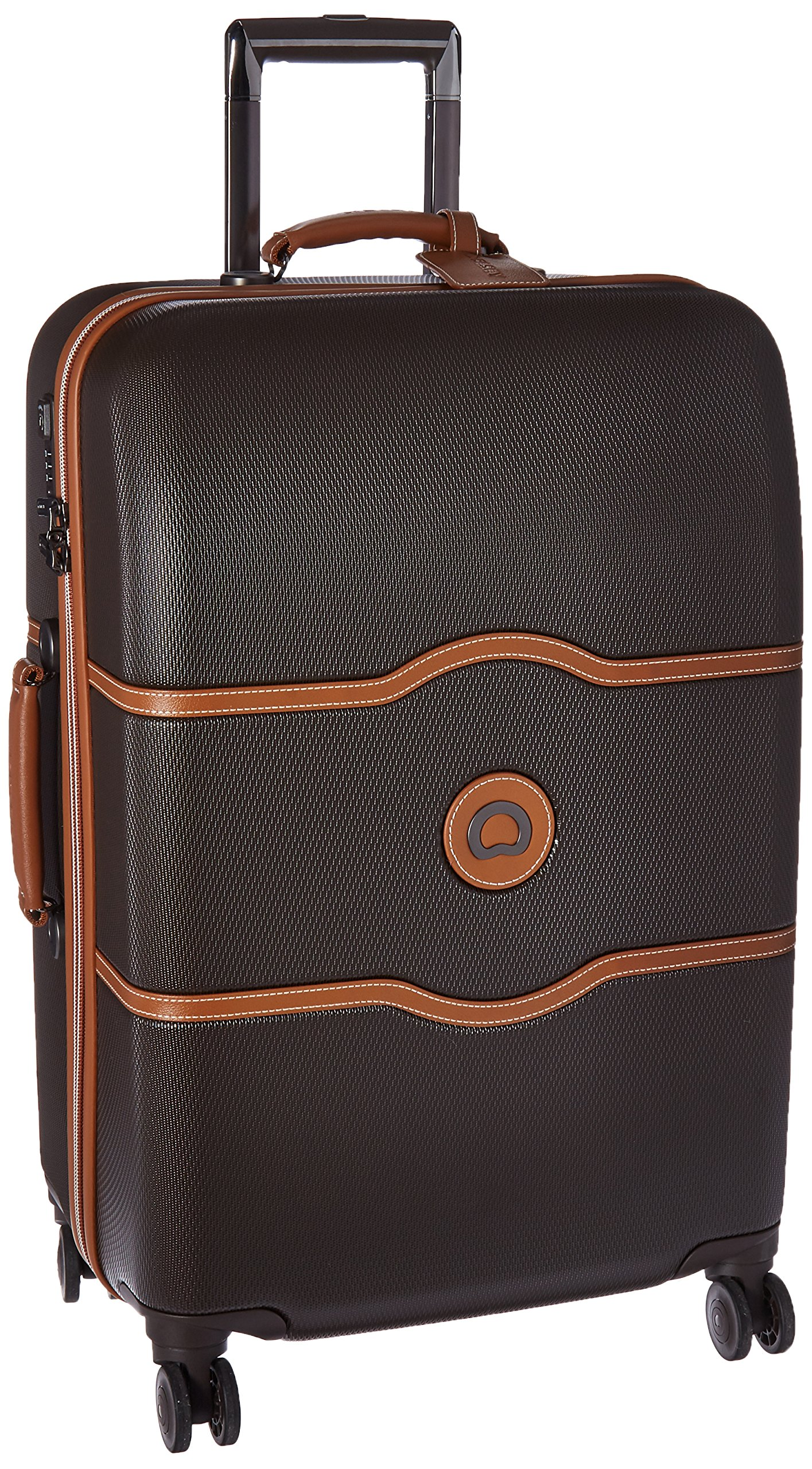 DELSEY Paris Luggage Chatelet Hard+ Medium Checked Spinner Suitcase Hardside with Lock, Chocolate