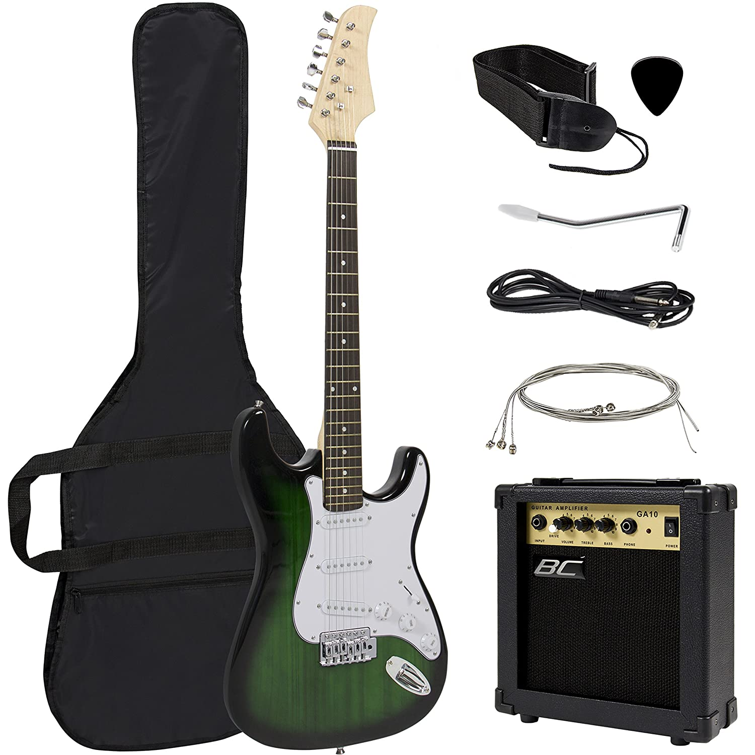 Amazon Full Size Green Electric Guitar With Amp Case And Accessories Pack Beginner Starter Package Musical Instruments
