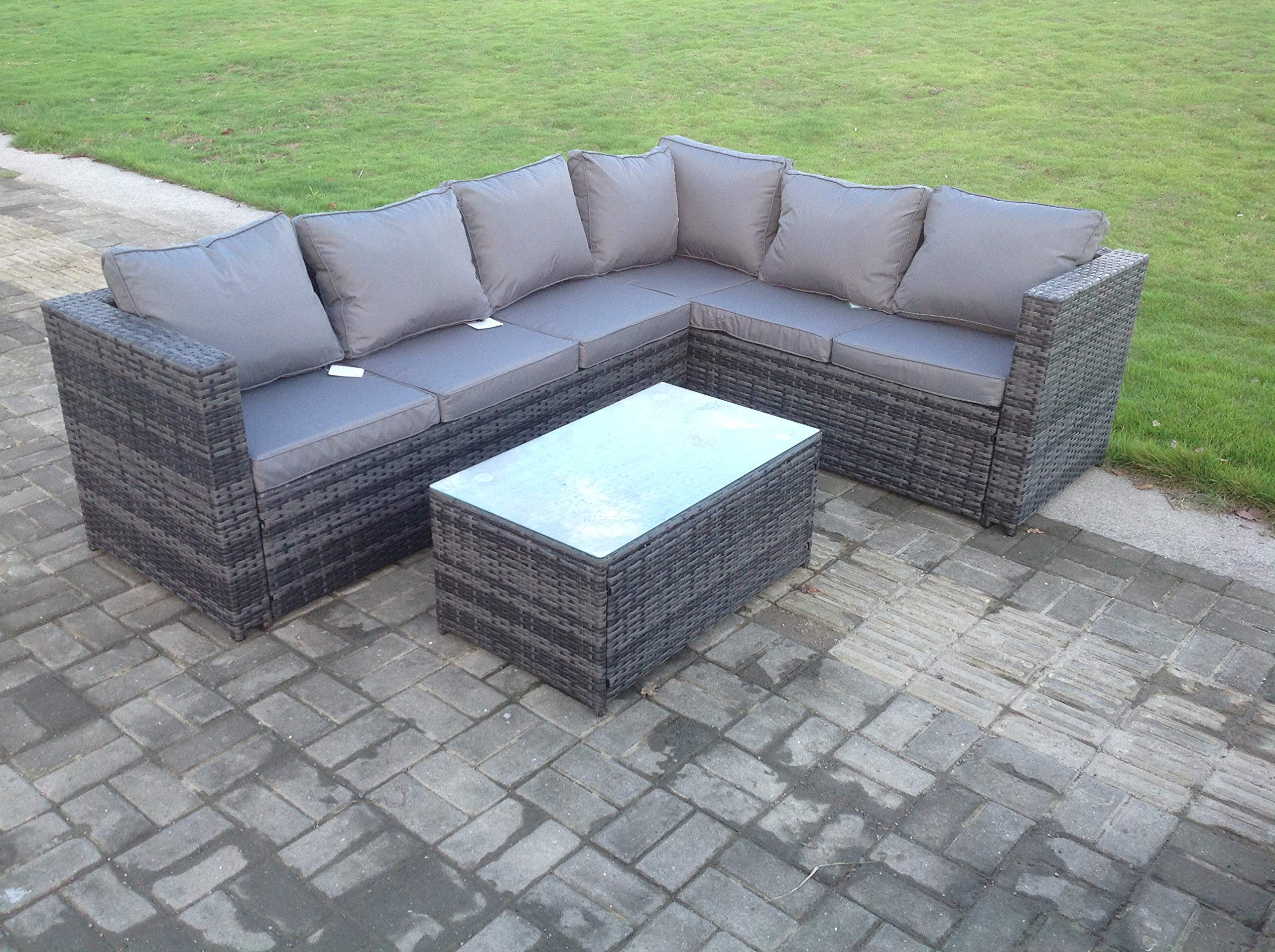 Rattan Corner Sofa Set 6 Seater Garden Furniture including Outdoor Coffee  table with cushion in Grey