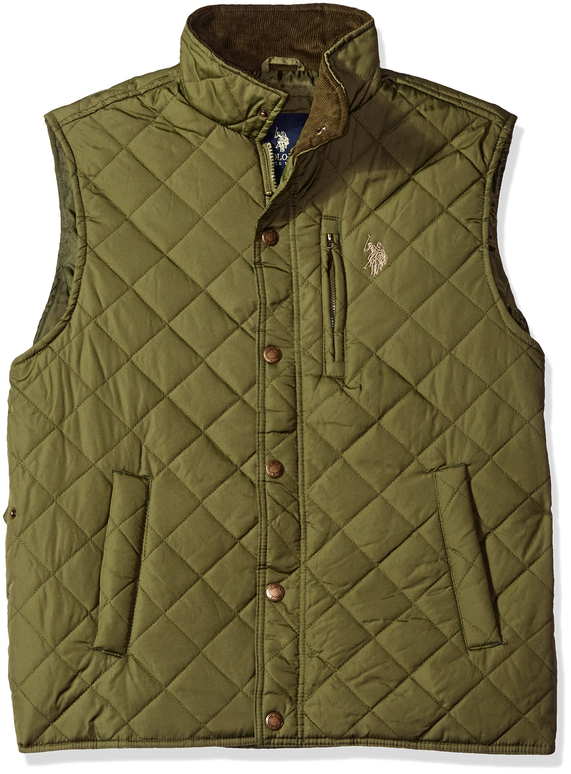 U.S. Polo Assn. Men's Lightweight Puffer Vest, Army Green-Ghmh, L by U.S. Polo Assn.