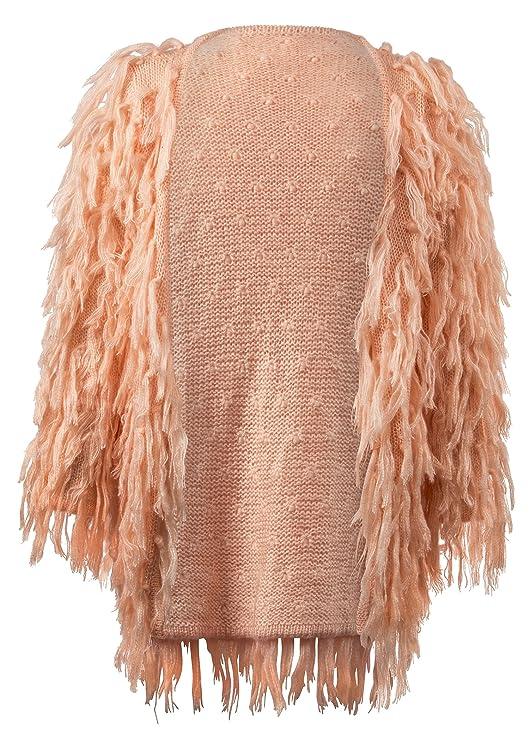 Vintage Dresses Australia- 20s, 30s, 40s, 50s, 60s, 70s Glam and Gloria Womens Light Pink Fringe Shaggy Faux Fur Open Jacket Cardigan AUD 98.52 AT vintagedancer.com