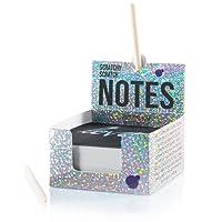 Block-Notes Scratch Art per Bambini e Adulti di Purple Ladybug Novelty | Cubo di 150 Fogli in Carta Magica Nera | per Appunti, Disegni, Giochi e Regali | Pennelli Inclusi | Blocco con Scritta Argento