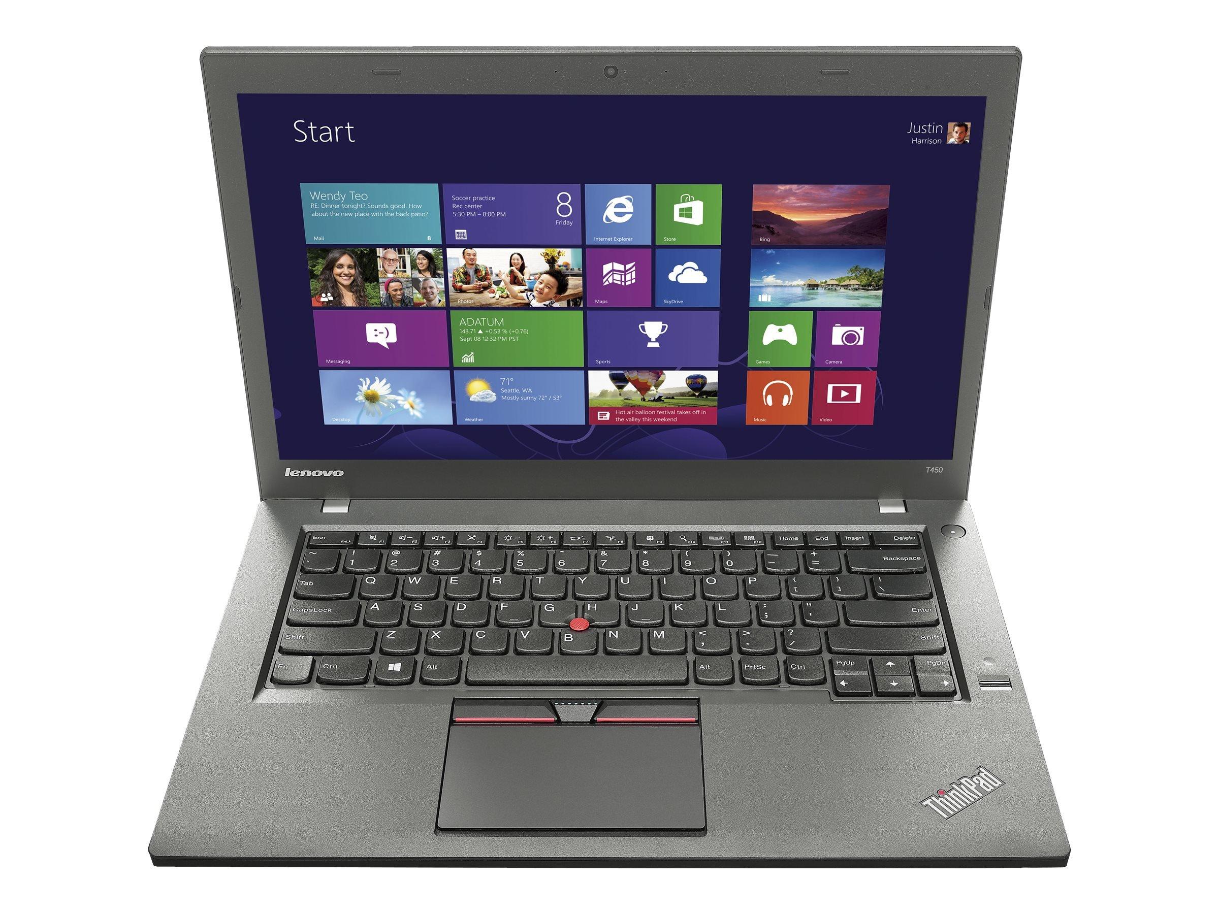 Lenovo Thinkpad T450 Laptop, I5-5300U, 2.3GHZ, 500GB SATA Drive, 8GB RAM, With Windows 10 Professional (Renewed)
