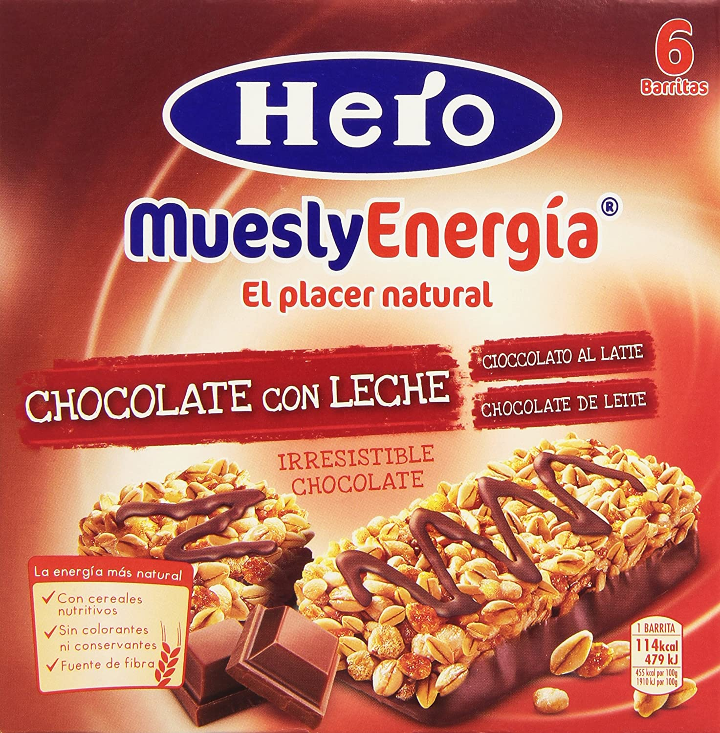 Hero Muesly Energia Barritas de Chocolate Pack de 6 x 25 g
