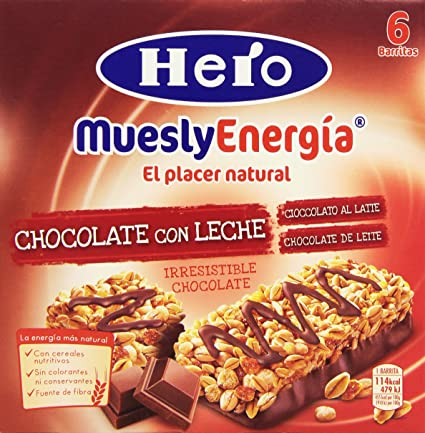 Hero Muesly Energia Barritas de Chocolate - Pack de 6 x 25 g - Total: