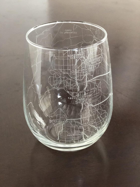 Seattle Map Wine Glass Gift
