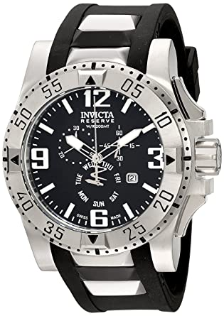 Invicta Mens 18202 Excursion Stainless Steel Watch With Black PU Band