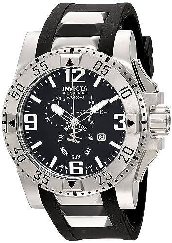 Invicta 18202 Excursion Reloj de Acero Inoxidable con Banda de PU Negro: Amazon.es: Relojes