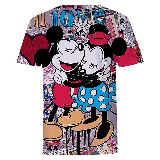 Disney Camiseta con Abrazo de Mickey y Minnie Mouse y Collage OxMv3omb