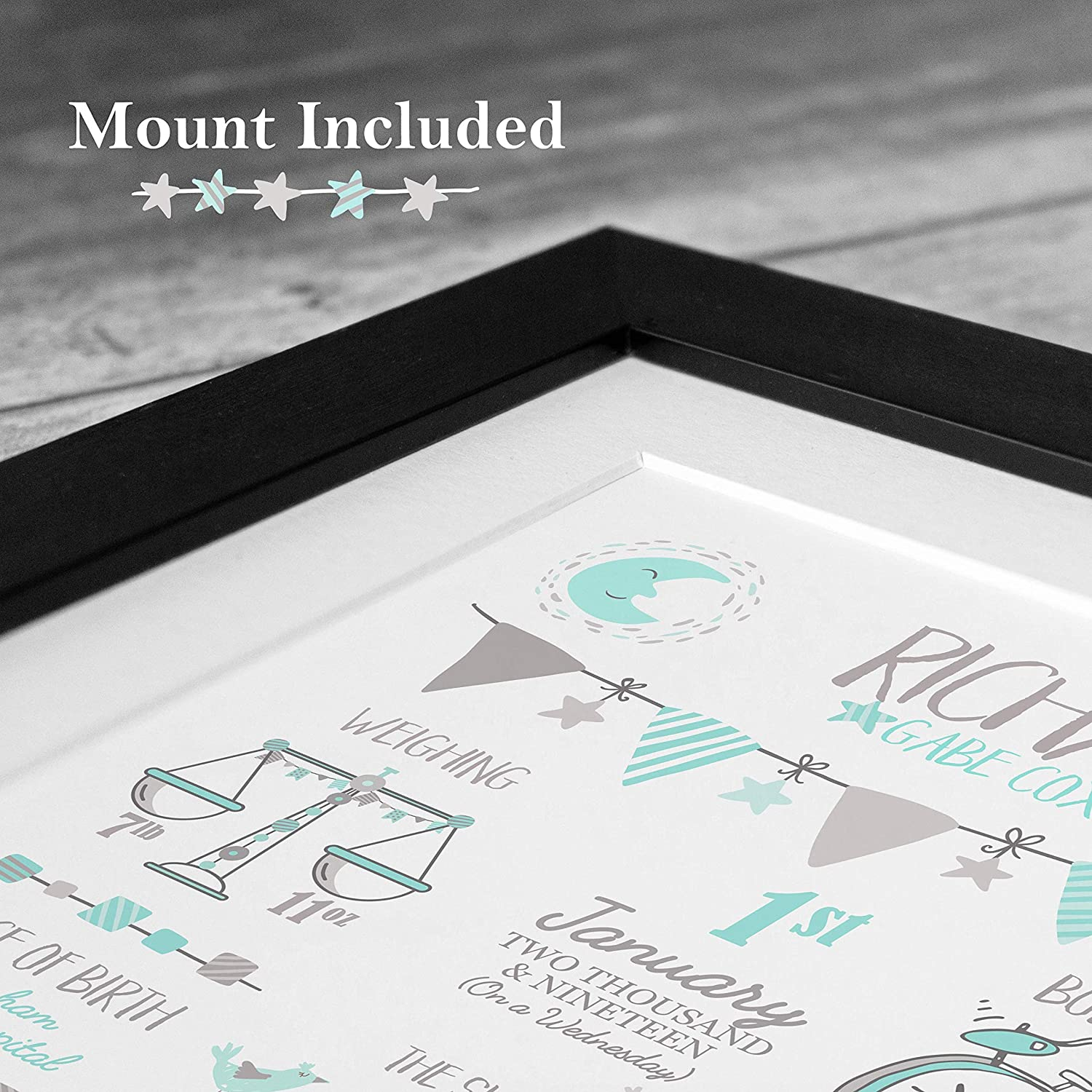 Boys Pastels, A3 Unframed Print The Whistling Wren Personalised Birth Print for Baby Boy 297 x 420mm Bespoke Christening or Baptism Present New Baby Gift Birth Details Stats Picture