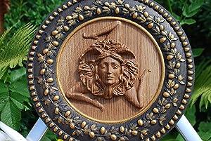 Wood carved Sicilian trinacria medal Triskelion Celtic sign round gorgon Trinacria symbol sun Norse mythology triskele