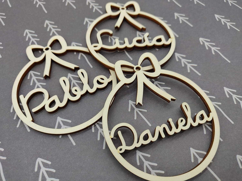 Bolas de navidad de madera personalizadas cordel incluido Adornos navideños Ornamento Decoraciones colgantes de Navidad para el árbol de Navidad: Amazon.es: Handmade