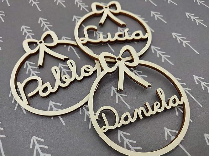 cedff5de91f Bolas de navidad de madera personalizadas Adornos navideños Ornamento  Decoraciones colgantes de Navidad para el árbol