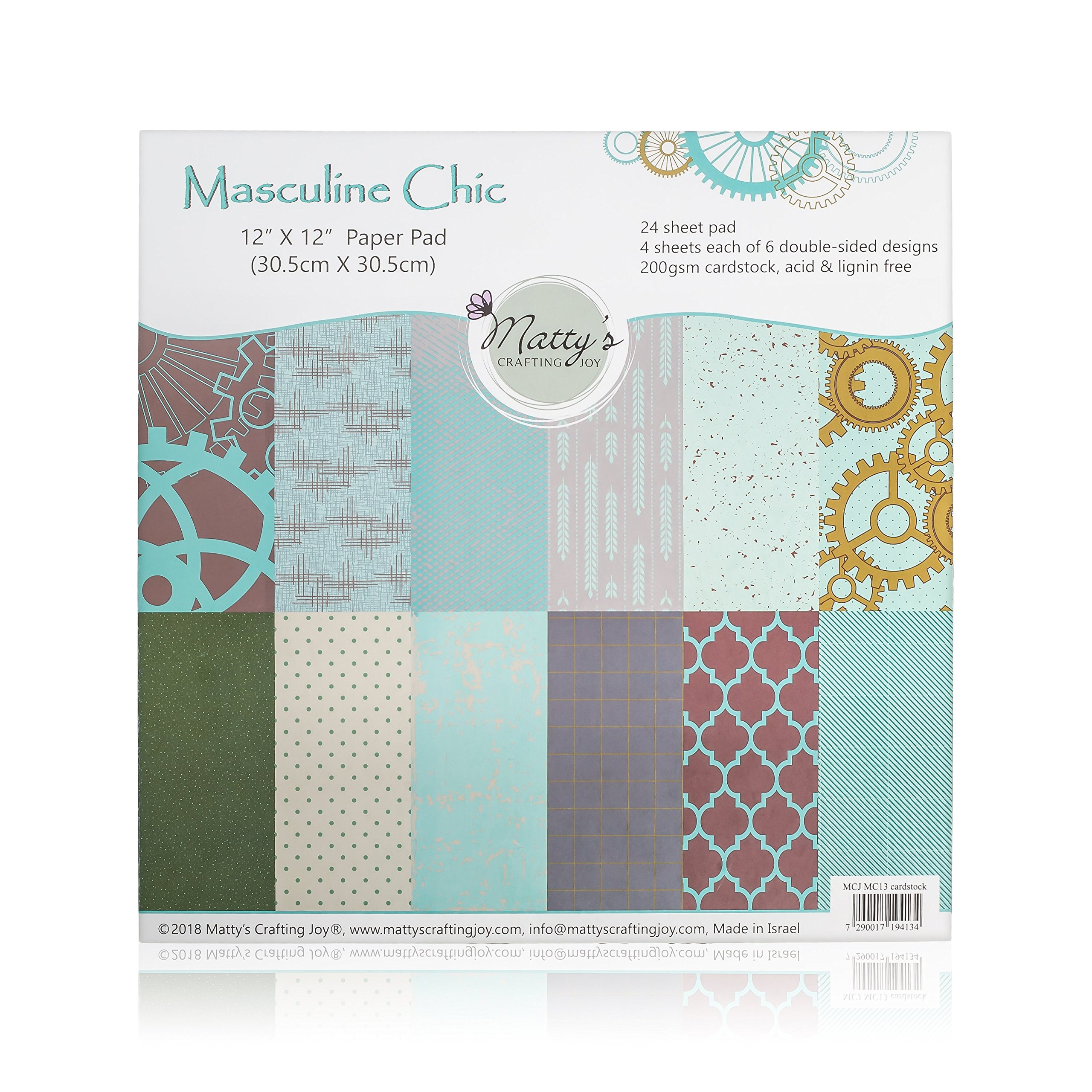 Matty's Crafting Joy Masculine Chic - 12x12 Double Sided Turquoise Scrapbook Paper Pad, 24 Light Teal Blue Patterned Cardstock Paper Pack by Matty's Crafting Joy