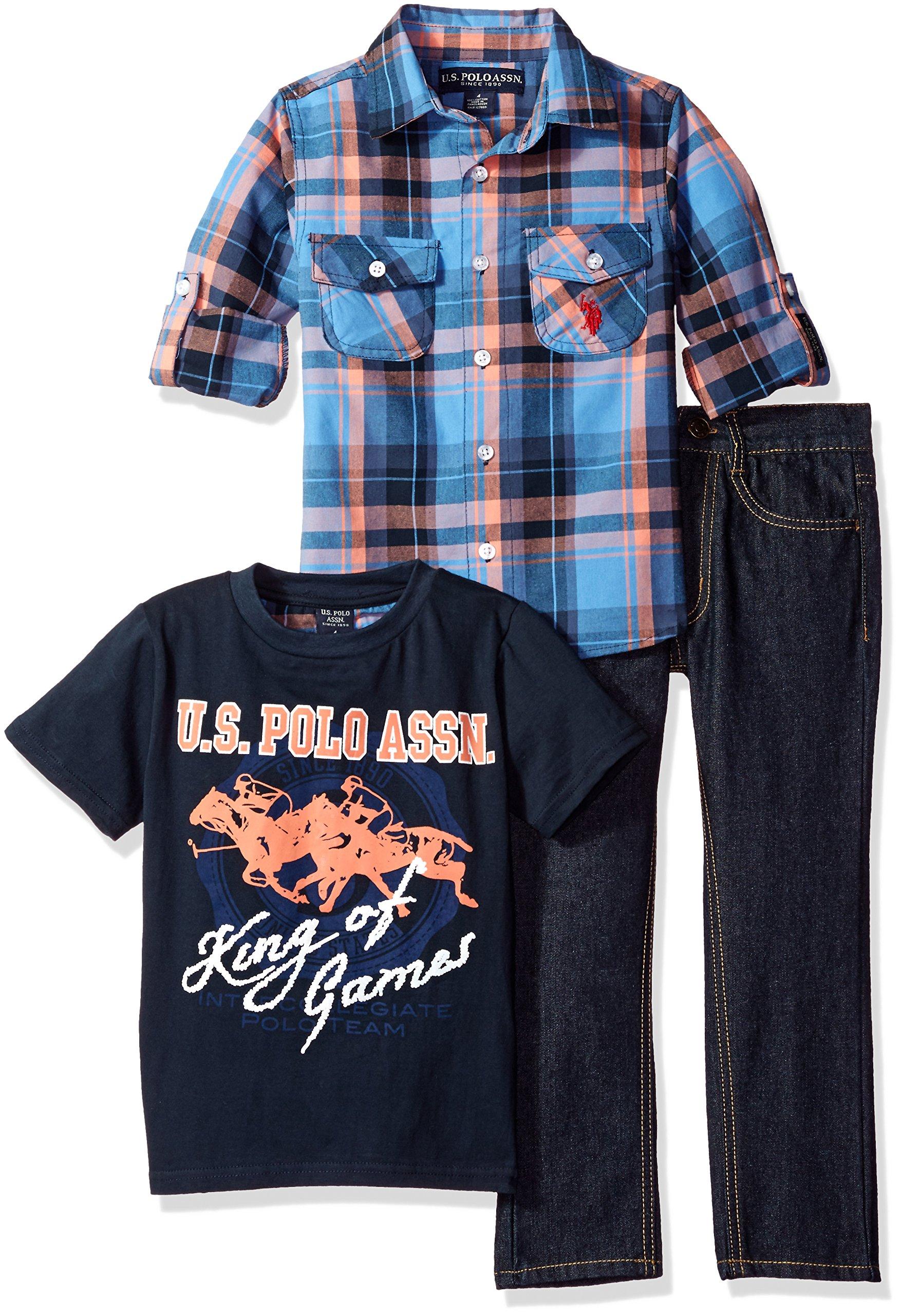 U.S. Polo Assn. Boys' Toddler Boys' 3 Piece Long Sleeve Fancy Sport Shirt, T-Shirt Or Creeper, and Denim Jean Set, 0228 Blue/Pink Plaid, 3T