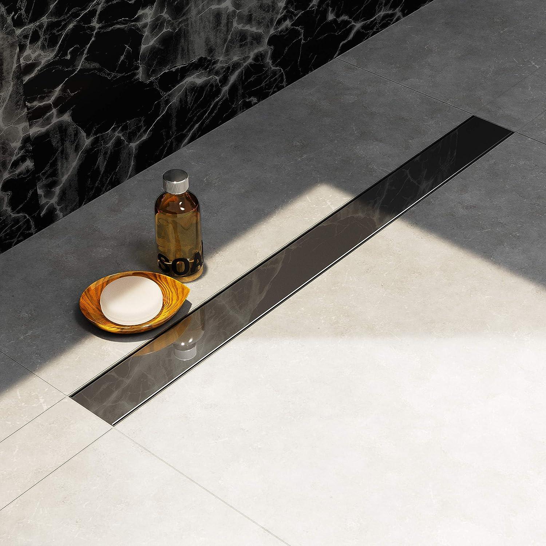 siphon EXTRA PLAT au mileu Profondeur dinstallation seulement 6 cm Longueur : 90 cm Caniveau de douche NORDONA/® Complete Basic en acier inox avec filtre-cheveux grille poli miroir