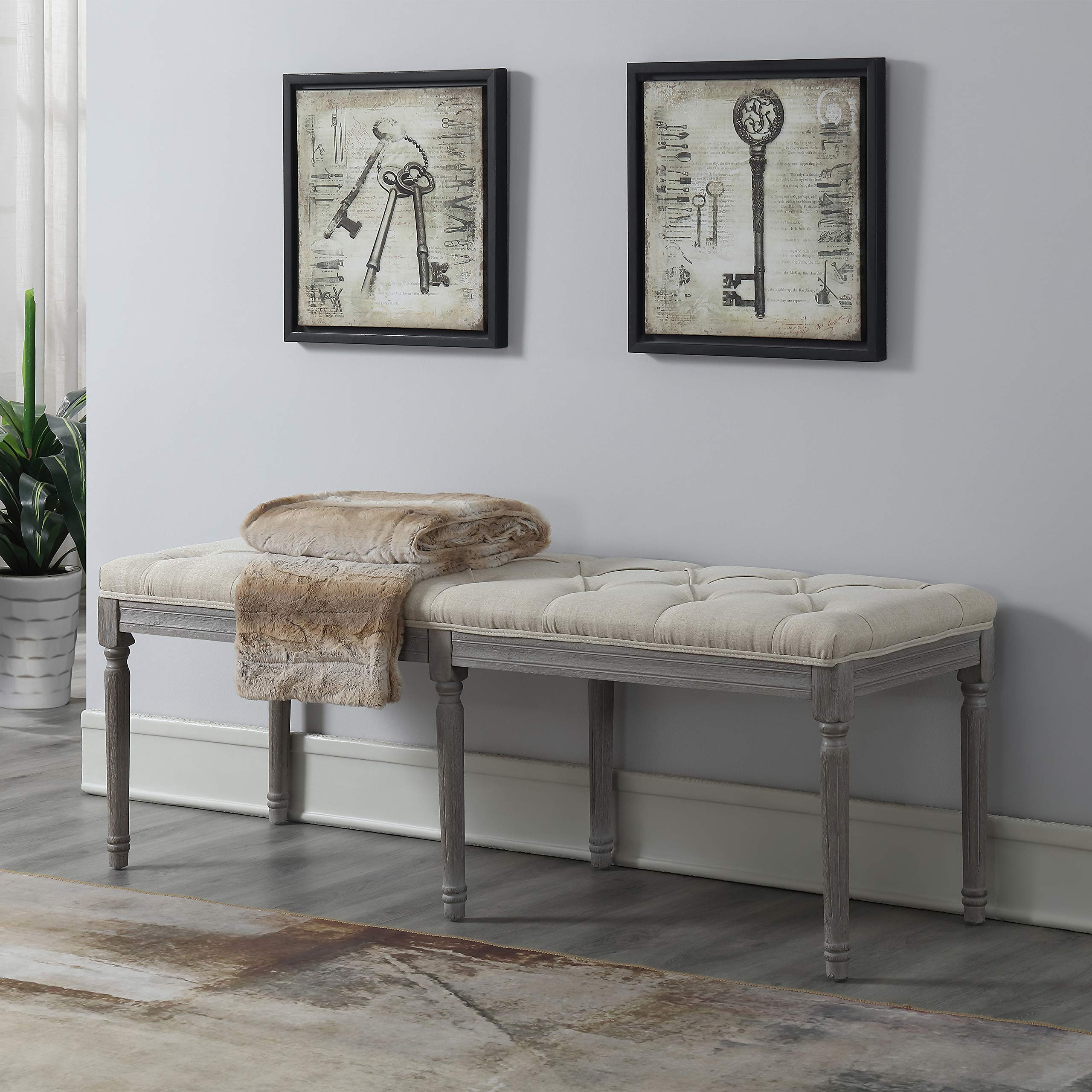 Jack Button Tufted Light Beige Upholstered Bench with Weathered Gray Legs by CHL CHRISTIES HOME LIVING (Image #3)