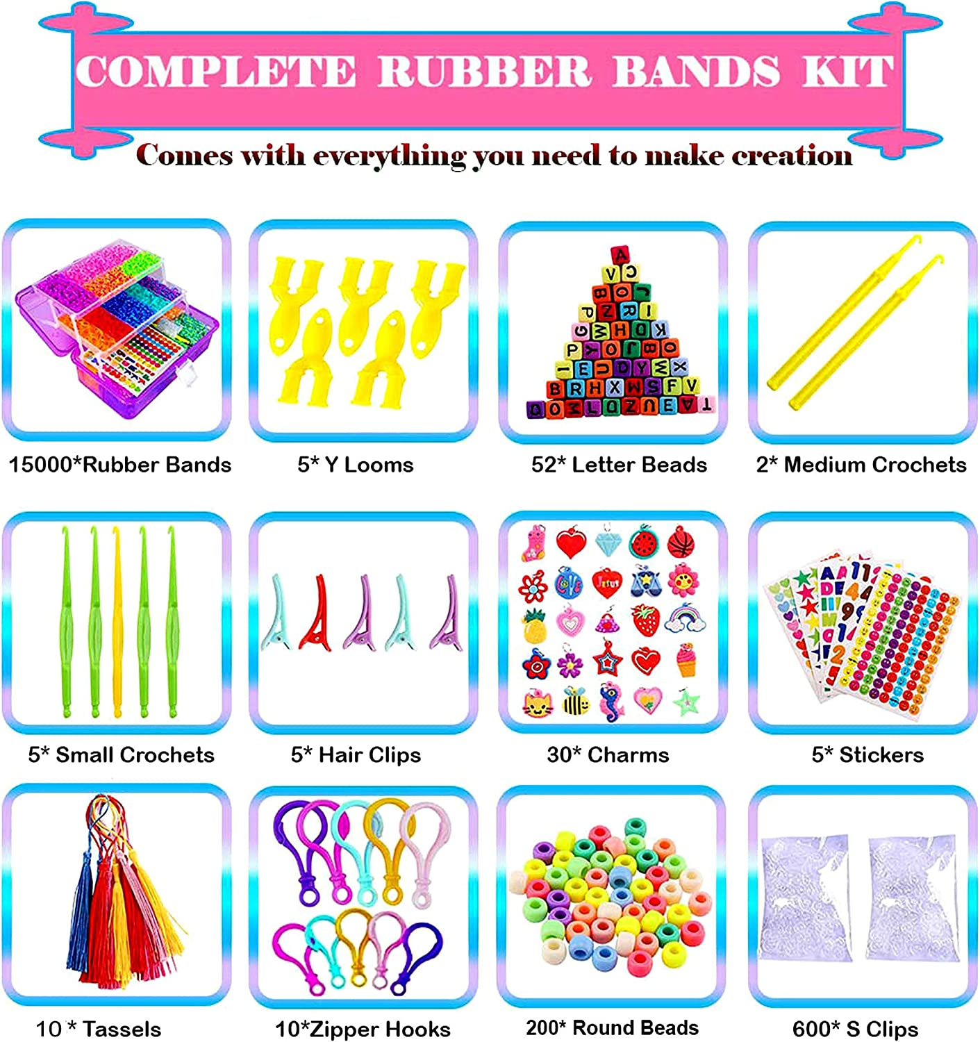 Xuheng Rainbow Rubber Bands with Bag Compatible with Rainbow Looms 6 Unique Rainbow Colors - 1000 of Each 6000 pcs Rubber Band Pack Great Gift for Girls