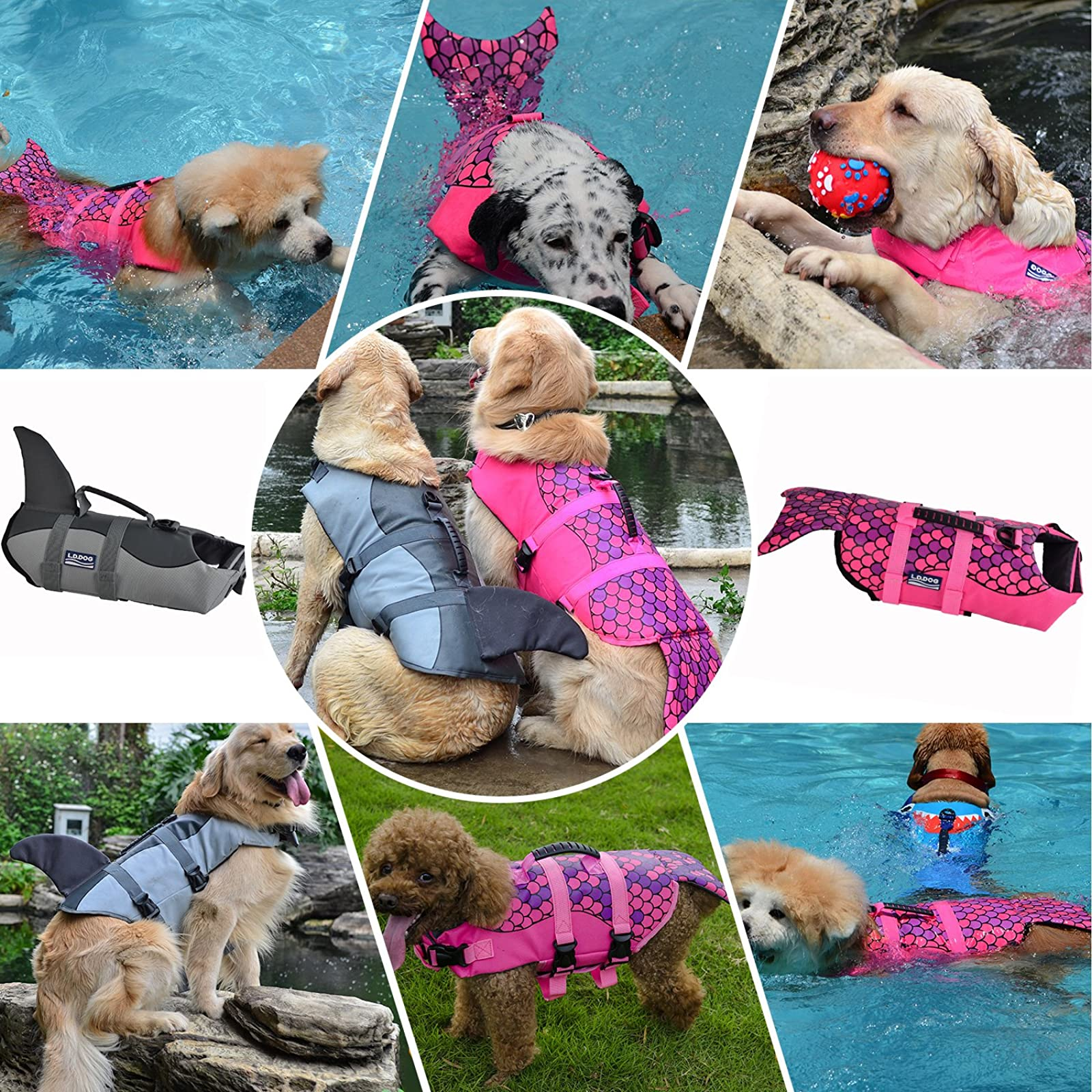 Queenmore Dog Life Jacket Ripstop Lifesaver Coat - 8