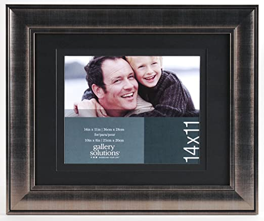 Amazon Com Gallery Solutions 11x14 Brush Silver Frame With Double Black Mat For 8x10 Image