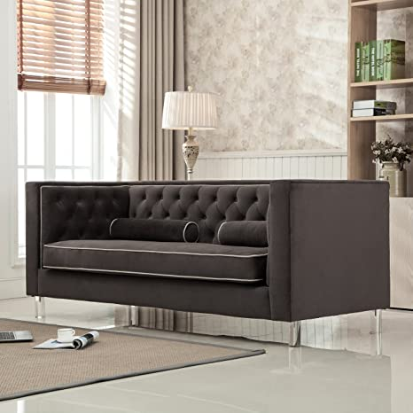 Awesome Christies Home Living Victoria Collection Contemporary Polyester Velvet Fabric Upholstered Button Tufted Living Room Tuxedo Sofa With 2 Lumbar Pillows Short Links Chair Design For Home Short Linksinfo