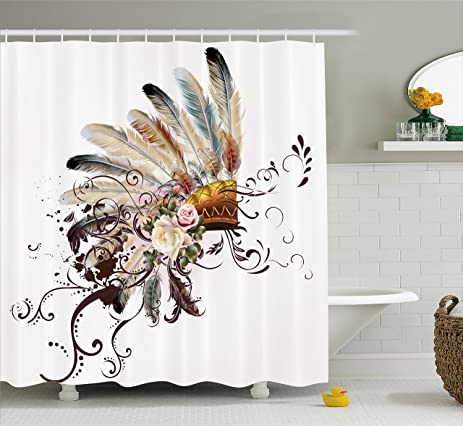 Feather Shower Curtain By Ambesonne Native American Symbol With Floral Arrangements Head Wear Flowers Swirls
