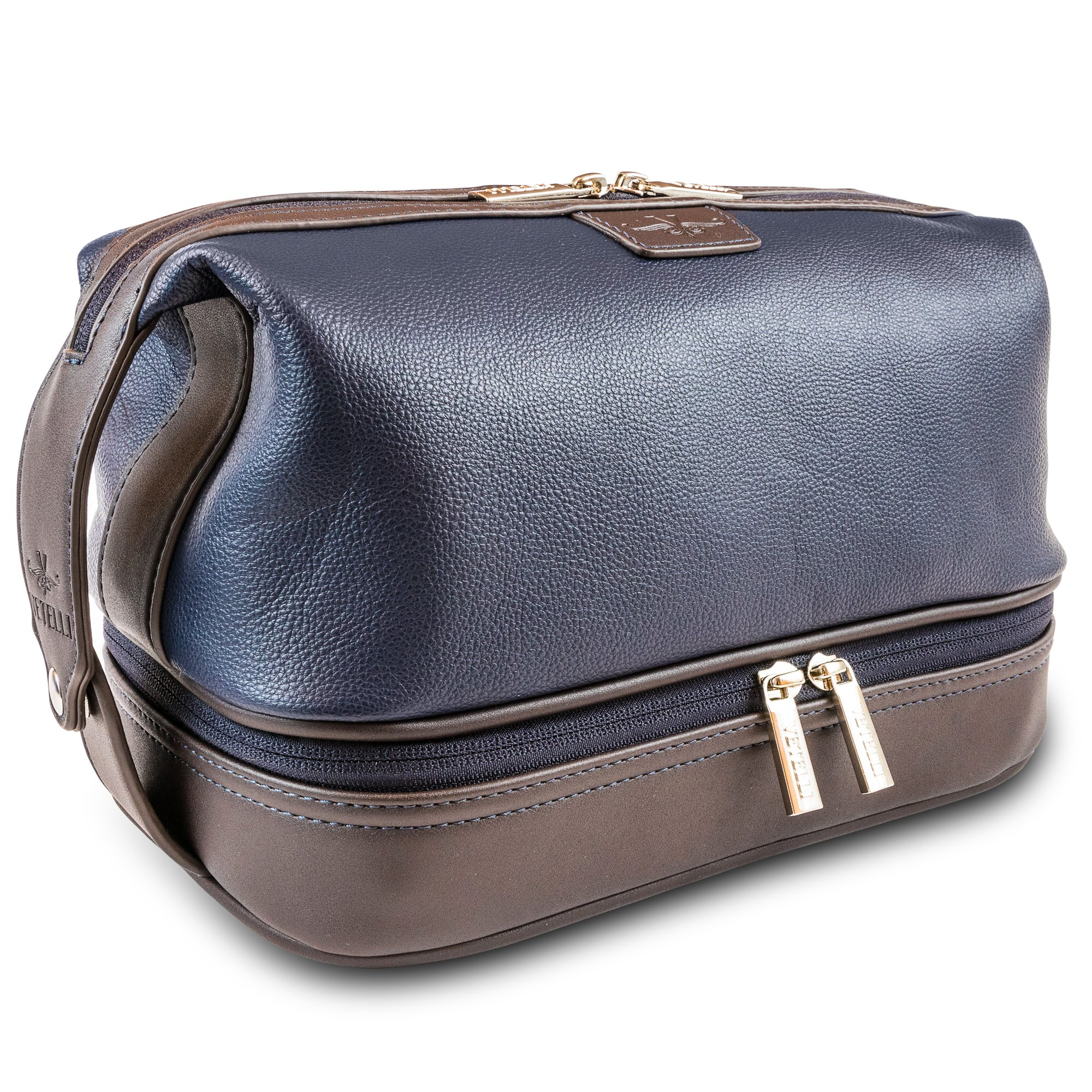 Vetelli Leo Mens Leather Toiletry Bag - Dopp Kit - Lots of Pockets. Plenty of Space. Large Compartments. Durable Design. Easy to Stay Organized When Travelling for Business or Pleasure. by Vetelli